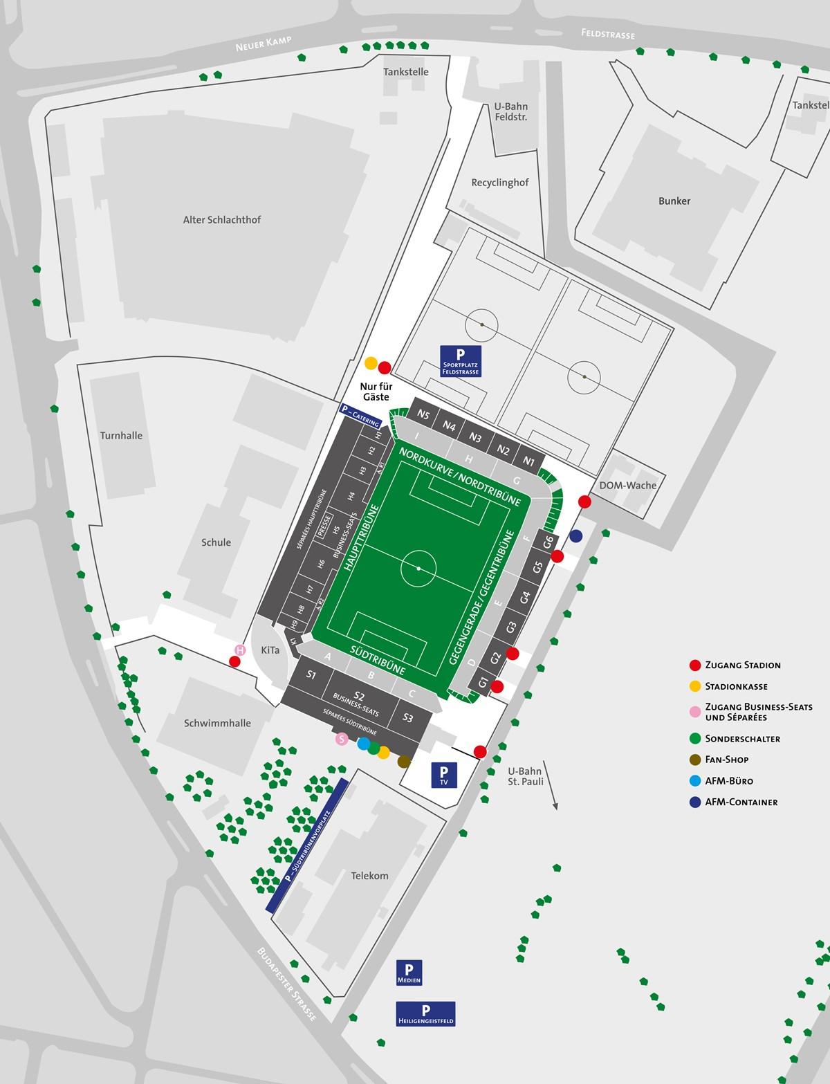 Millerntor-Stadion Umgebungsplan
