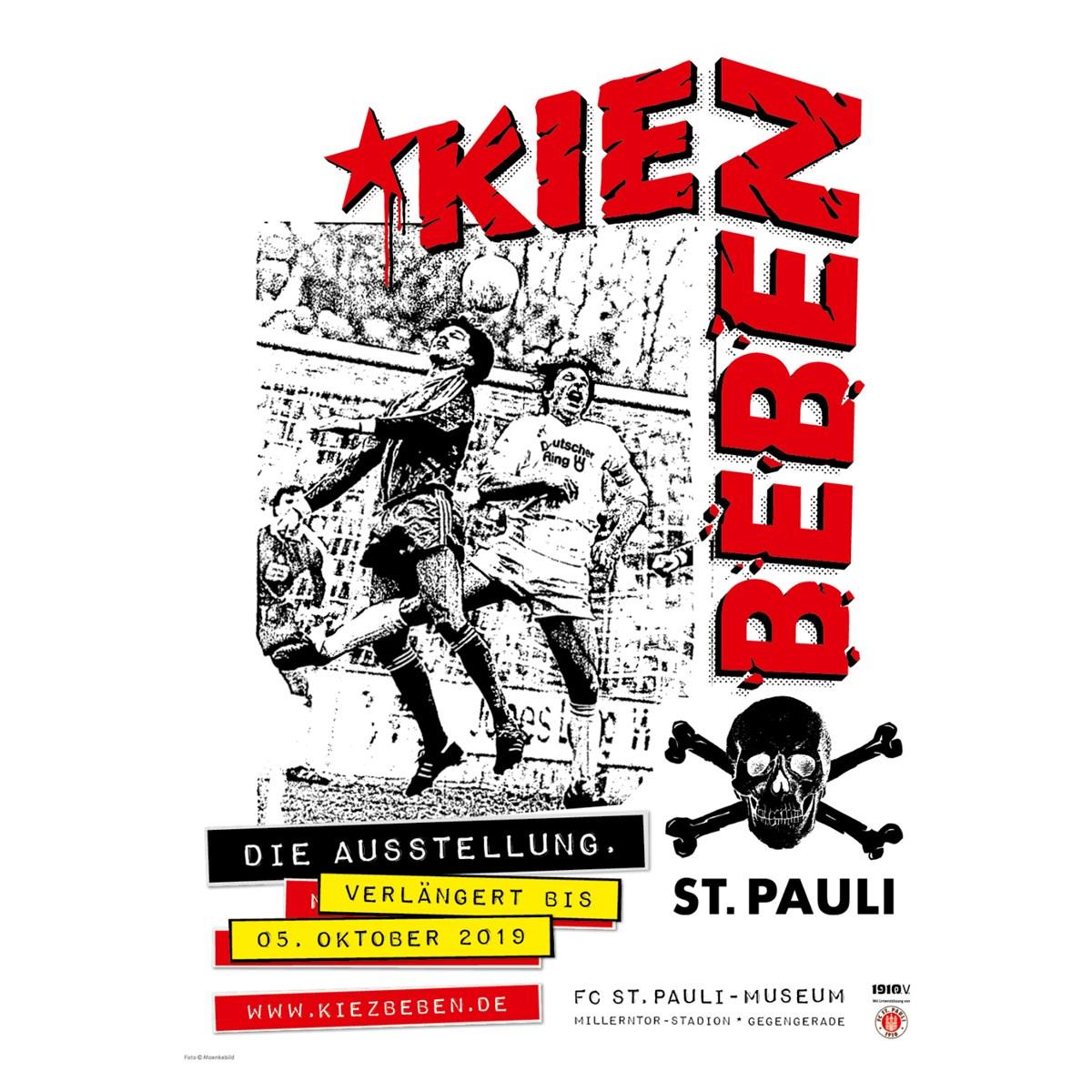Die Ausstellung KIEZBEBEN ist bis einschließlich 5. Oktober immer Do.+Fr. von 16 bis 22 und Sa.+So. von 11 bis 19 Uhr im FC St. Pauli-Museum in der Gegengerade geöffnet.